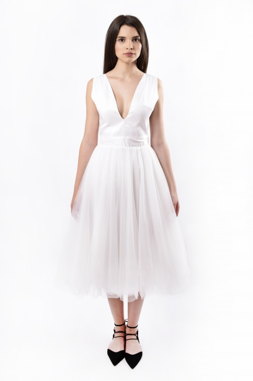 Shantung silk and tulle dress