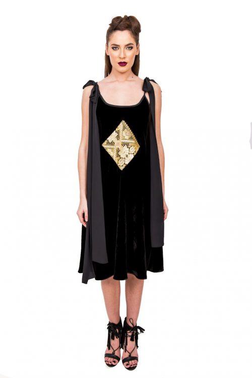 Rochie din catifea cu bretele