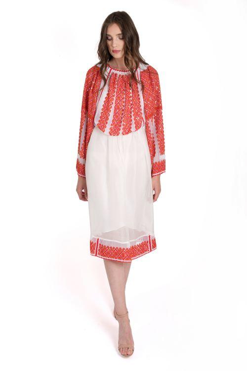 Dress with Romanian traditional blouse IE Izabela Mandoiu