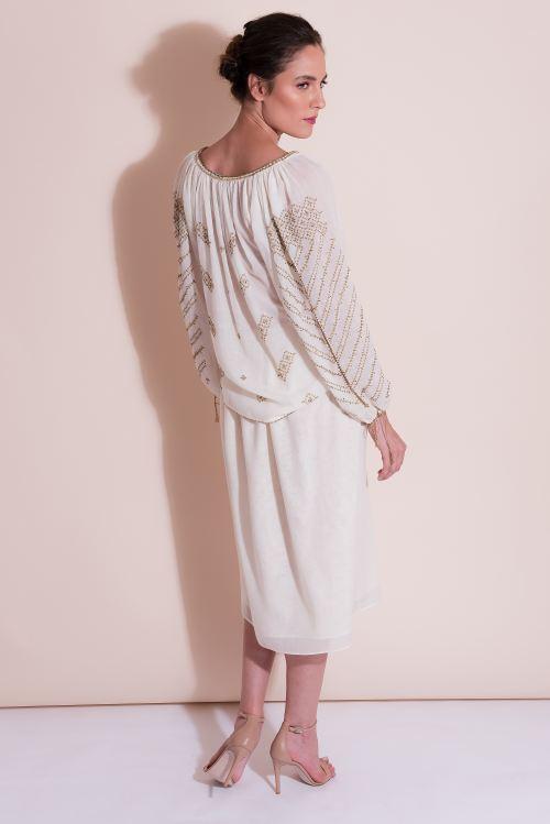 Bluza tip ie din lana merin cusuta manual