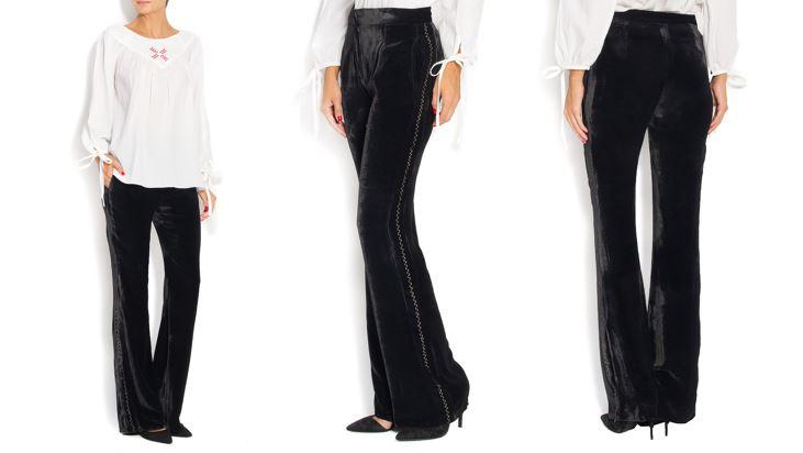 Pantaloni catifea din matase Izabela Mandoiu