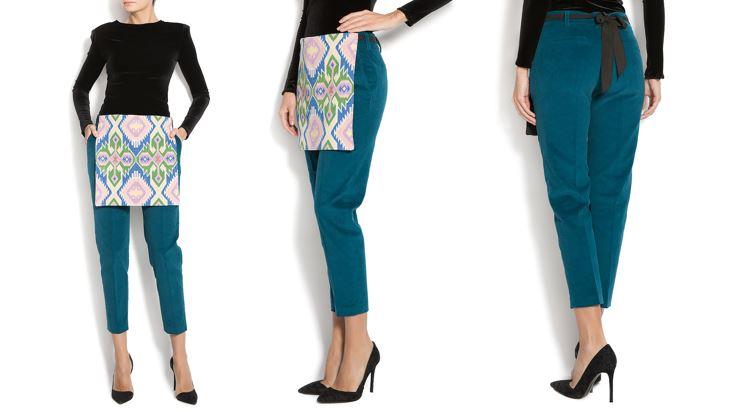 pantaloni turquoise cu catrinta Izabela Mandoiu