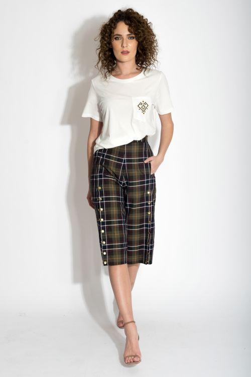 Fusta pantalon din stofa de lana in carouri cu capse metalice Izabela Mandoiu