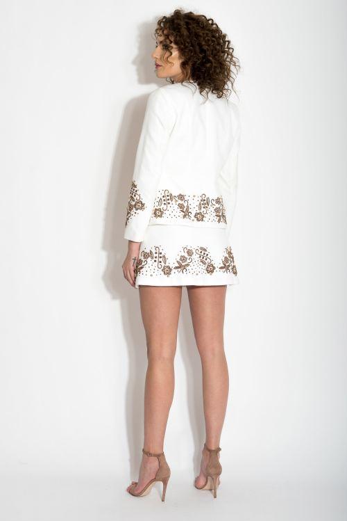 Jacheta din catifea de bumbac cu margele cusute manual Izabela Mandoiu