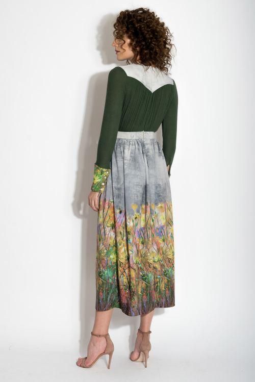 Rochie din jerse de lana cu imprimeu floral Izabela Mandoiu 1