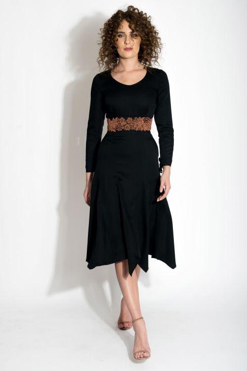 Rochie din stofa de lana cu centura cusuta manual Izabela Mandoiu